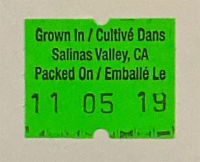 Photo of Salinas Valley label.