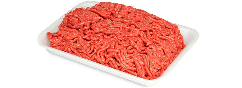 Photo of ground beef in a white bowl.