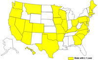 A map of the United States displaying cases of E. coli as of March 1, 2009 to June 25, 2009