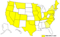 A map of the United States displaying cases of E. coli as of March 1, 2009 to June 30, 2009