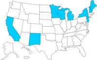 A map of the United States displaying cases of E. coli as of April 1, 2009 to June 30, 2009