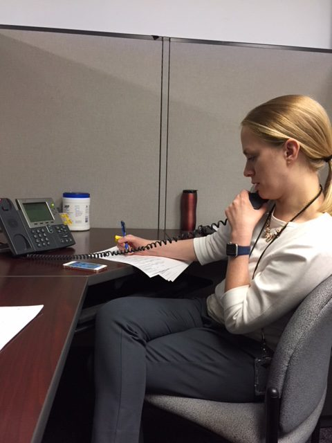 EIS officer Amelia Keaton, MD, MSc, conducts a phone interview with a patient during the outbreak investigation