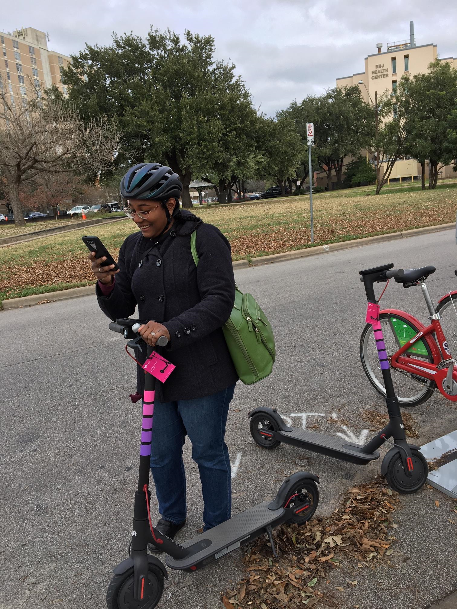 EIS officer tests a dockless electric scooter