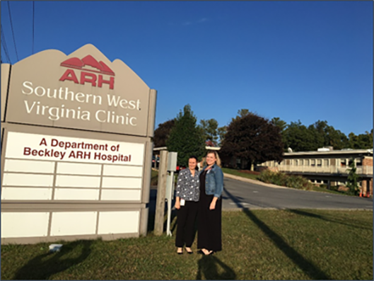 Mary (Molly) Evans, MD, MPH, EIS Class of 2016, and Sarah Labuda, MD, MPH, EIS Class of 2017 work in the field at the Appalachian Regional Healthcare's Southern West Virginia Clinic.
