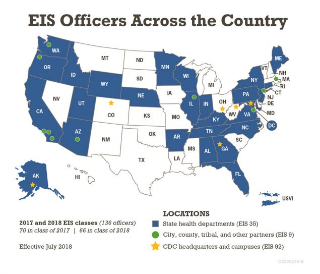 US map of EIS Officers Across the country by state.