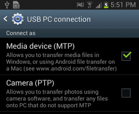 Screen shot illustrating a USB PC connection.