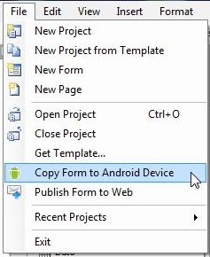Screen shot illustrating file drop-down menu where user can select copy form to Android device.