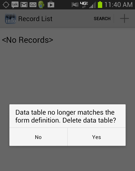 Screen shot illustrating a data table error message. Users will be alerted when data tables do not match form definitions.