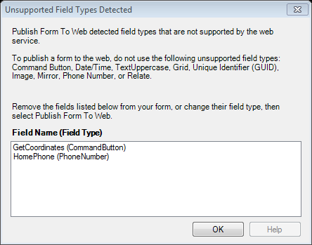 Screen shot of unsupported field types error message.