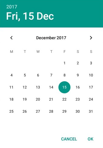 Screen shot of virtual date picker control used to enter a date value into a date fields