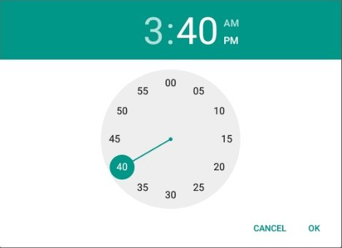 Screen shot of virtual time picker control used to enter time into a time field.