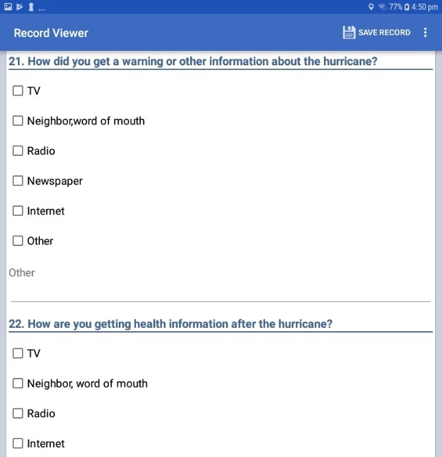 Screen shot of a series of Checkbox fields being displayed on a form for data collection on a mobile device.