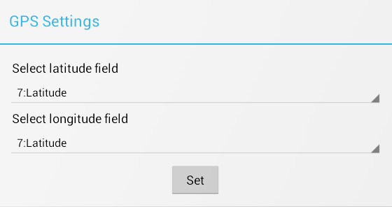 Screen shot of GPS settings box. Geocode coordinates can be captured directly from the mobile device.