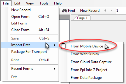 Screen shot of menu option for Importing Data from Mobile Device available in the Form Designer module.