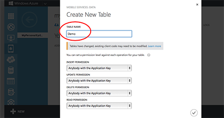 Create the data table in a cloud service