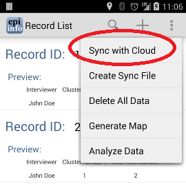 Select Sync with cloud