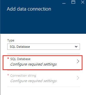 Screen shot of the Configure SQL Database dialog window in the Microsoft Azure portal.