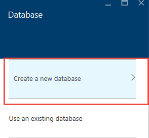 Screen shot of the Create a new database dialog window in the Microsoft Azure portal.