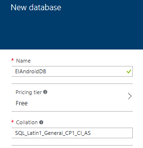Screen shot of dialog window whcih contains the parameters for the creation of a new database in the Microsoft Windows Azure portal.