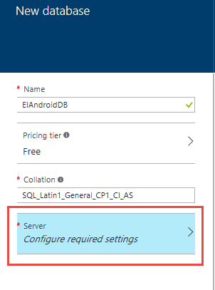 Screen shot of Configure required settings to configure database security setting in Microsoft Windows Azure.