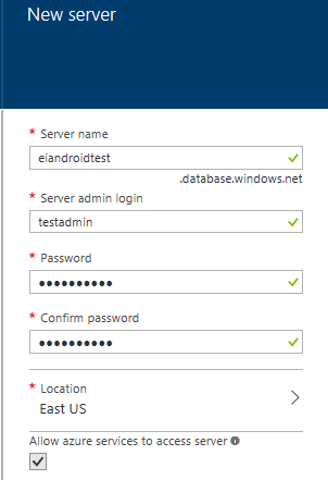 Screen shot of New Server dialog window in Microsoft Azure requesting the Server name, Server admin login, Password, confirm password and the location of the server.