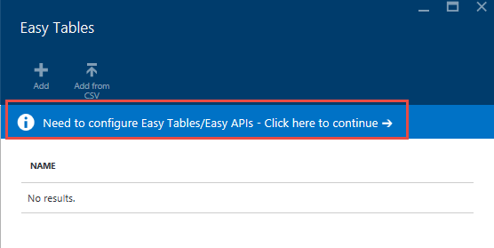 Screen shot showing the Configuring Easy tables process where user clicks on continue to complete the process.