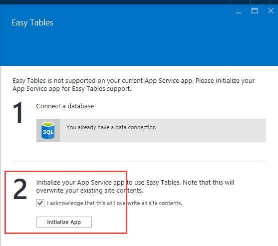 Screen shot for initializing the application service in Microsoft Windows Azure.