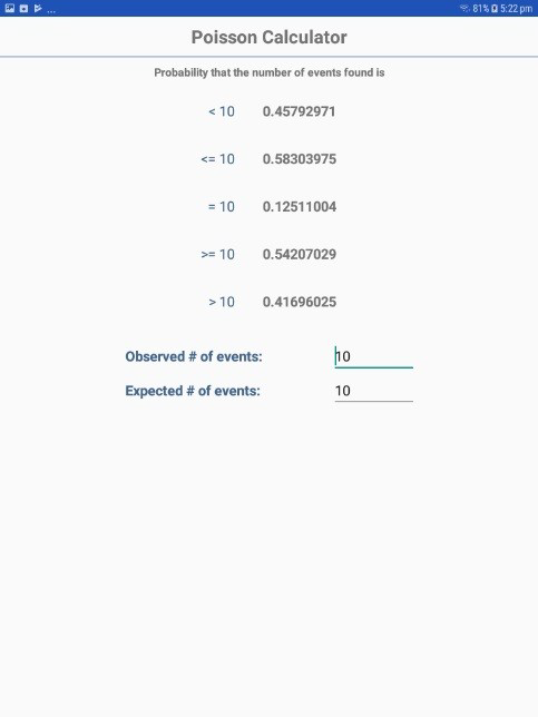 Screen shot of Poisson Distribution option in StatCalc