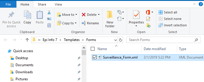 Windows Explorer showing the form template folder