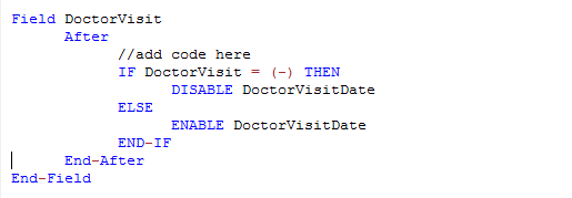 Check Code Sample showing Enable and Disable commands within the If/Then conditional block