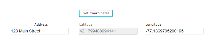 Form showing Get Coordinates button and fields showing the resulting geocode data