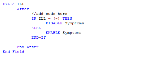 Check Code Sample showing the ENABLE and DISABLE commands