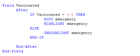 Check Code Sample showing the HIGHLIGHT and UNHIGHLIGHT commands