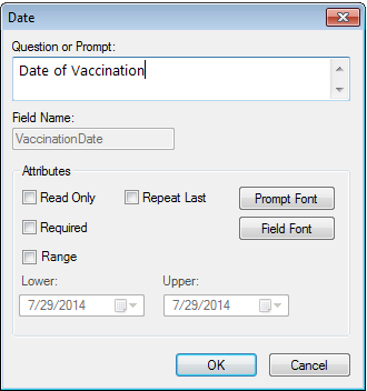 Vaccination Date definition dialog showing that the field is not marked as Required in the dialog