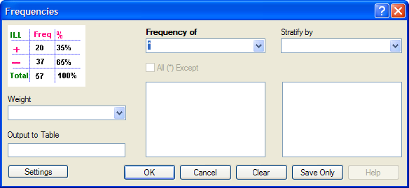 Frequency command dialog box