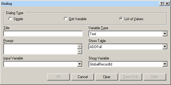 Dialog command List-Of-Values dialog box