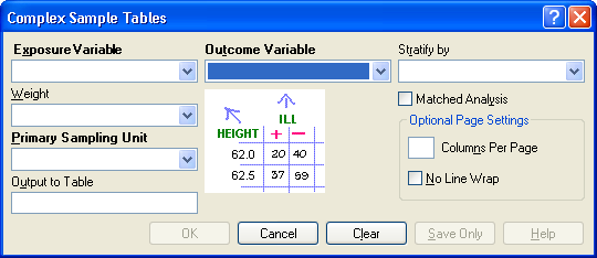Complex Sample Tables dialog box