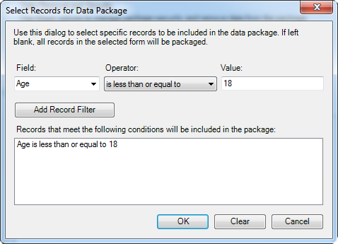 Select records for data package