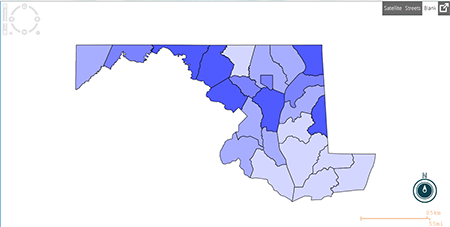 Choropleth in blank map view