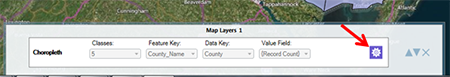 Map Layers tab and layer configuration icon