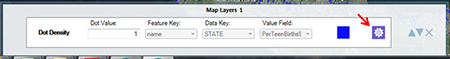 Dot Density Map Layers view and layer configuration icon