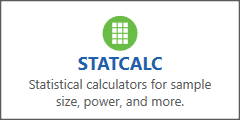 Epi Info 7 main menu button for the StatCalc tool.