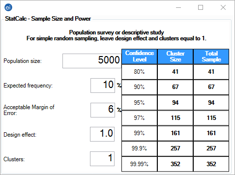 StatCalc Sample Size and Power for a population survey or descriptive study.