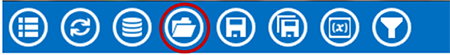 Visual Dashboard toolbar, with Open icon circled