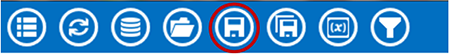 Visual Dashboard toolbar, with Save icon circled