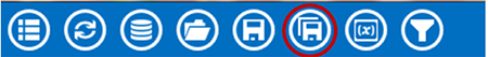 Visual Dashboard toolbar, with Save As icon circled