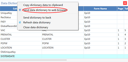 Option to send Data Dictionary to Web