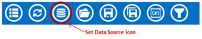 Visual Dashboard toolbar, with Set Data Source icon circled