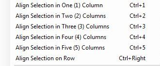 Field align options include options to Align selection in One column, two columns, three columns, four columns, five columns or to align the selection on a row.