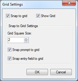 Form designer also allows the user to change grid settings